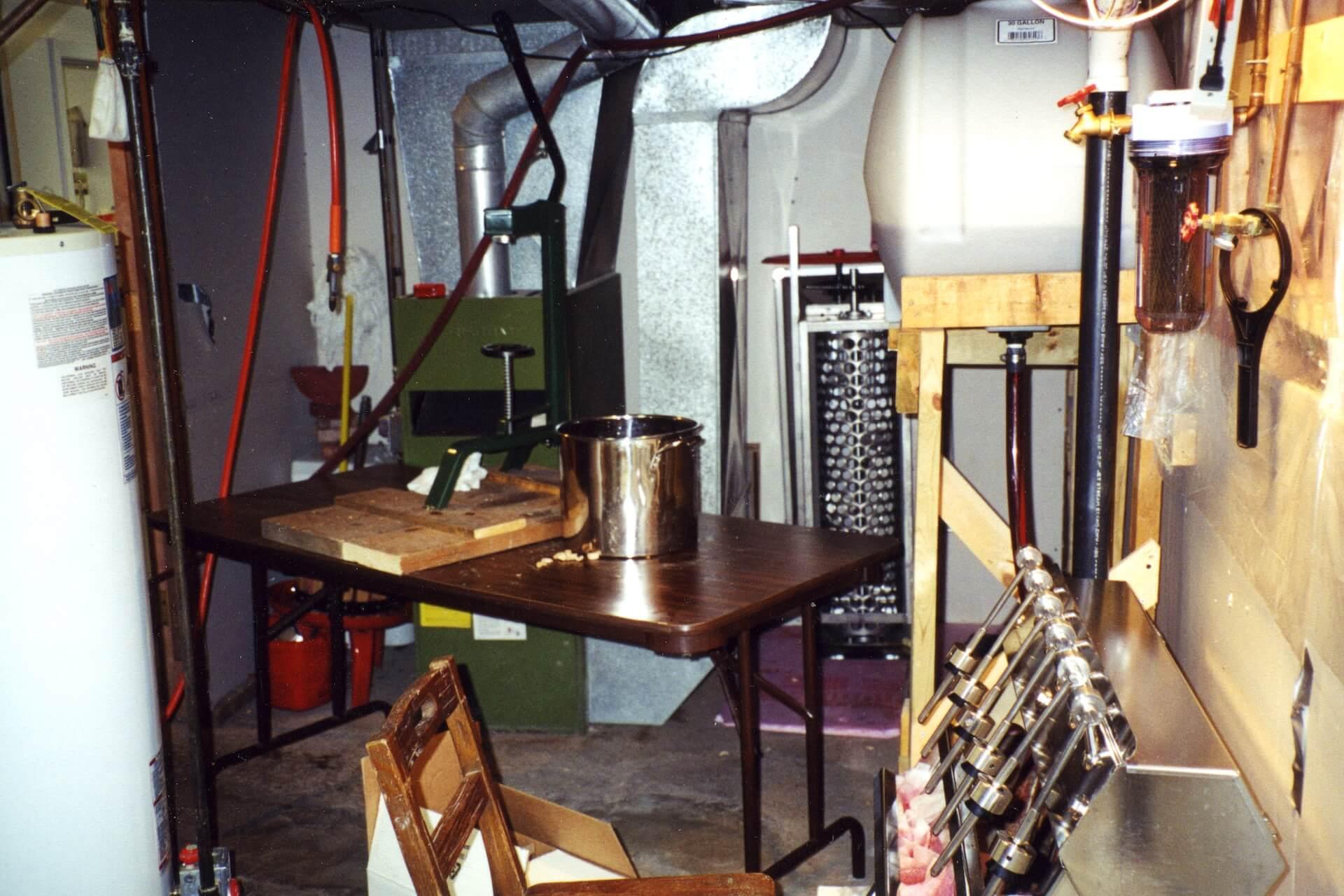 Prairie Berry's original bottling line in the basement of Ralph's house in Mobridge, South Dakota