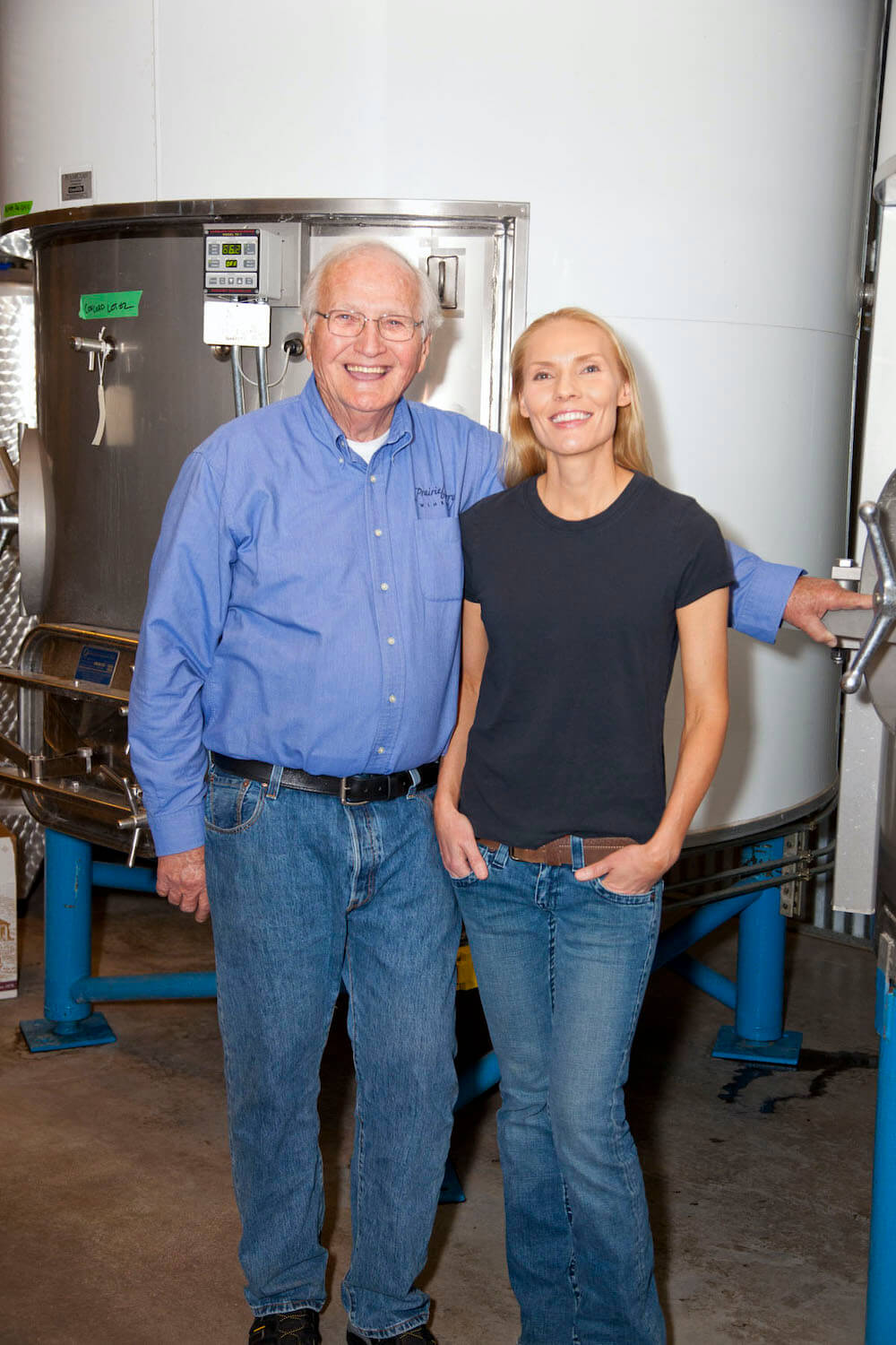 Ralph and winemaker Sandi in the production area at Prairie Berry Winery