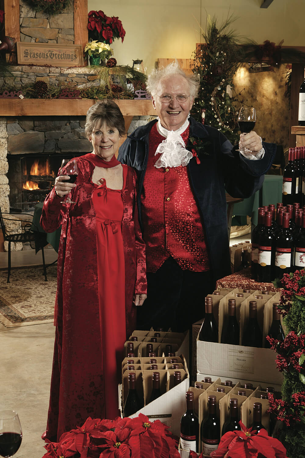 Ralph and his wife, Sylvia, in costume at Prairie Berry Winery's famous Fezziwig holiday festival near Hill City, South Dakota.