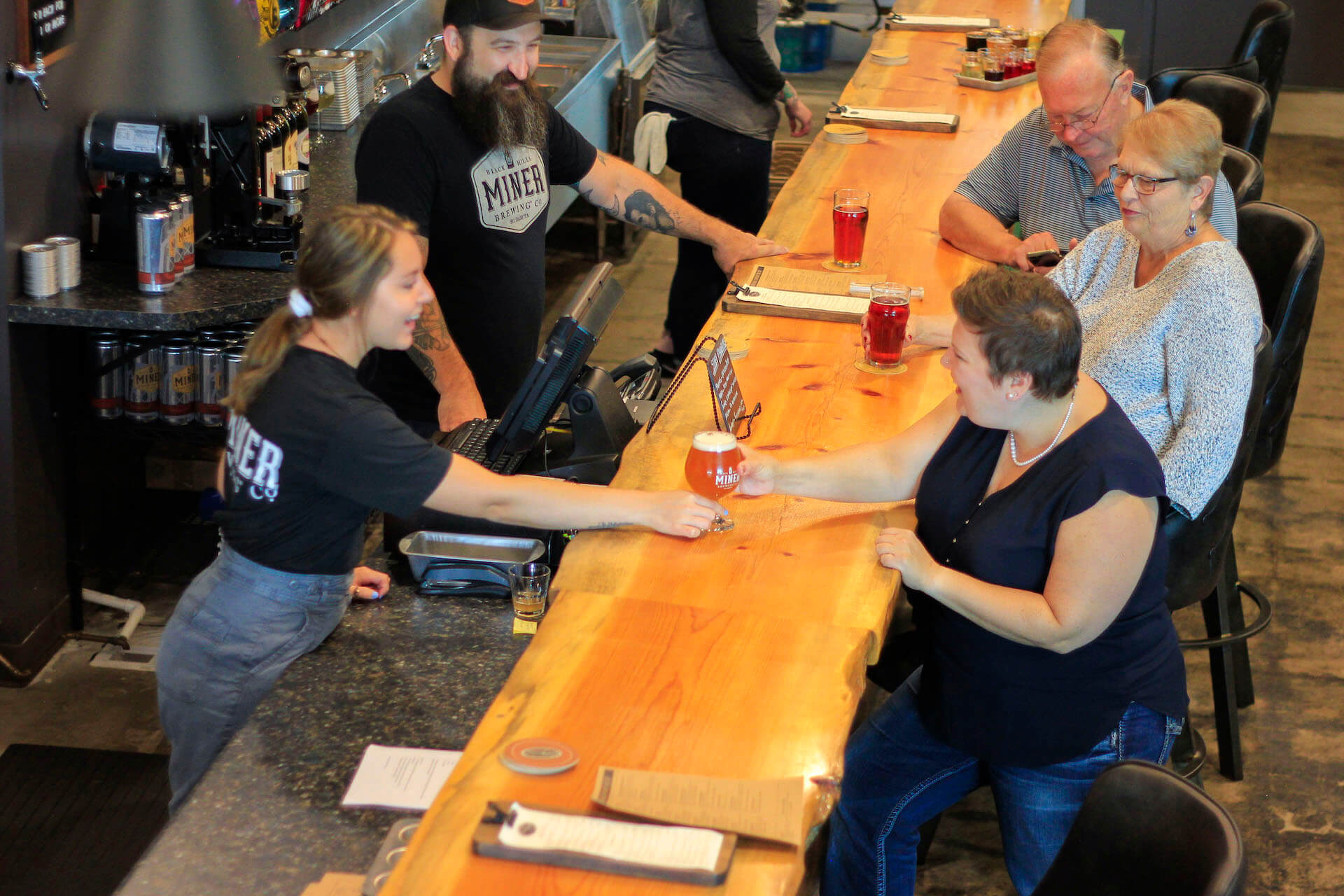 Staff at the Miner Brewing Co. and Prairie Berry Winery Taproom in Sioux Falls, South Dakota